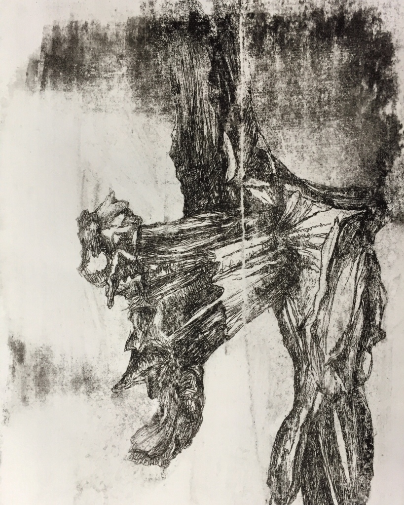 Print from an original photocopied drawing from A level Sketchbook